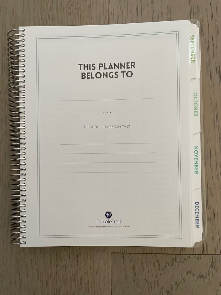 planner contact info page