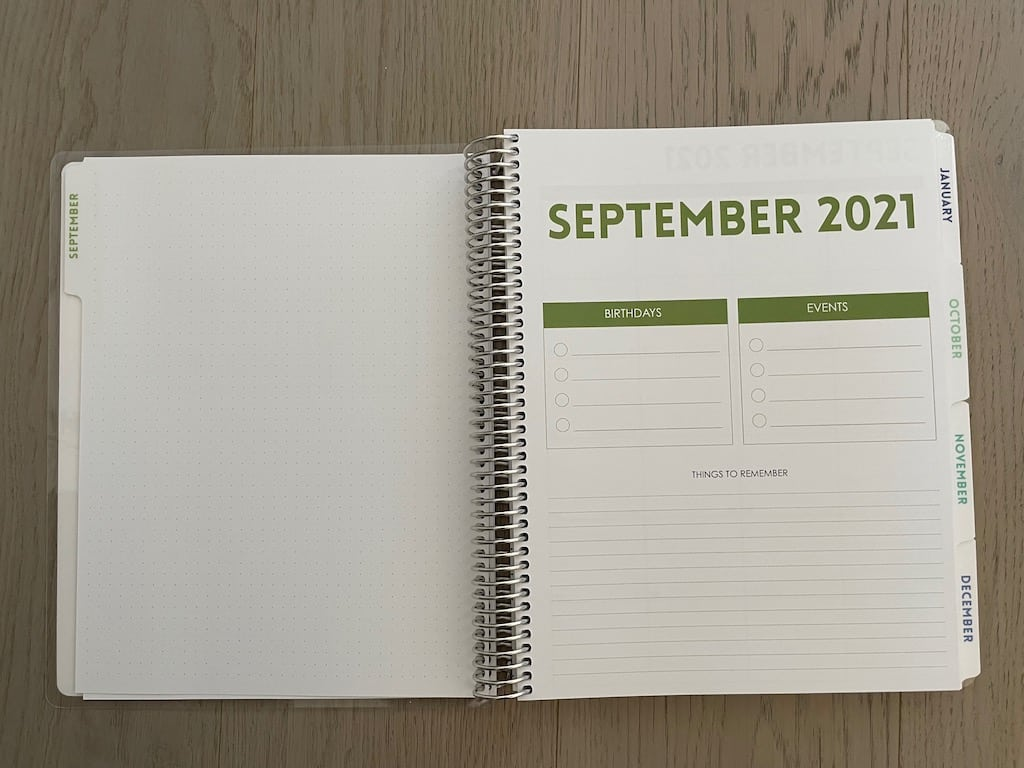 planner page for september 2021