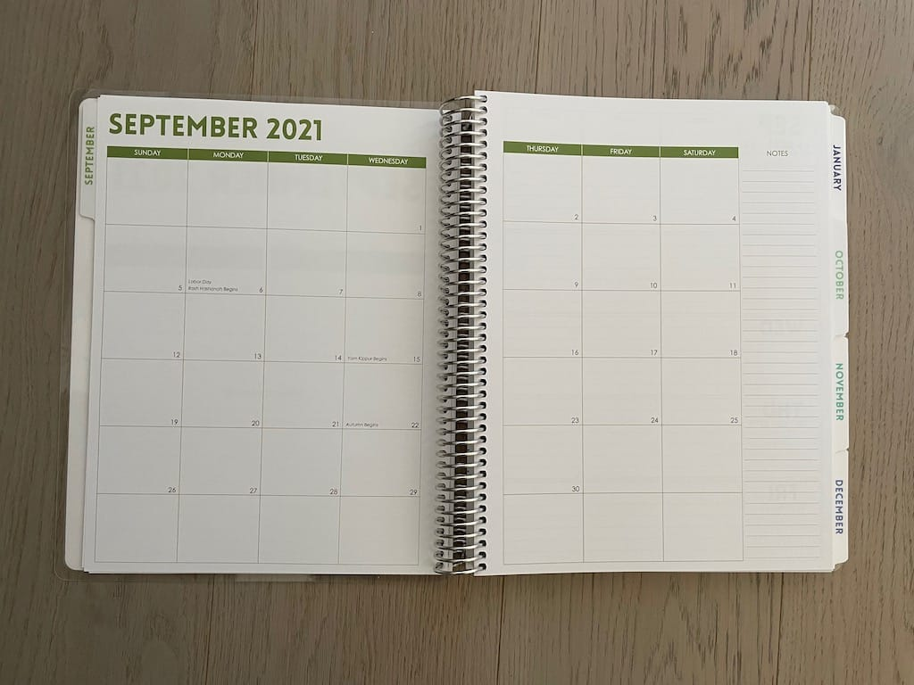 planner month. of september 2021 at a glance